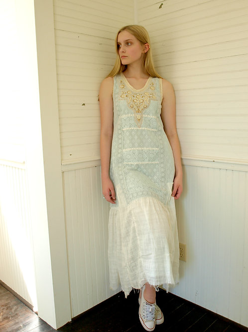 Avari blue beaded sleeveless shabby cotton maxi dress