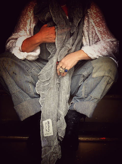 Railroad pinstripe linen ruffled scarf