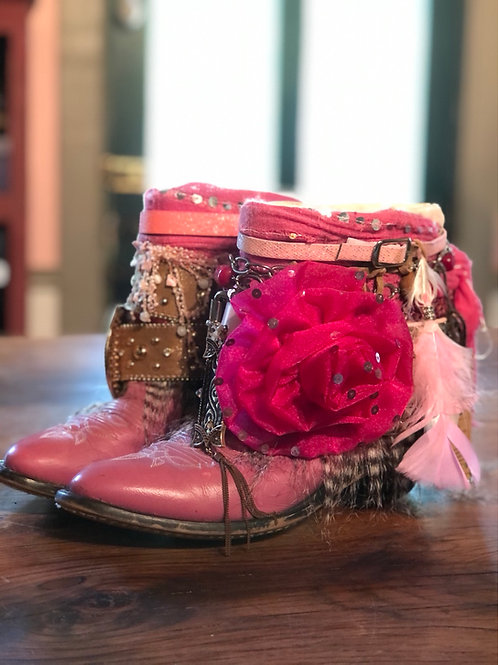 Upcycled boho pink vintage leather cowboy boots