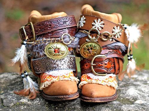 Custom REWORKED vintage festival boho COWBOY BOOTS