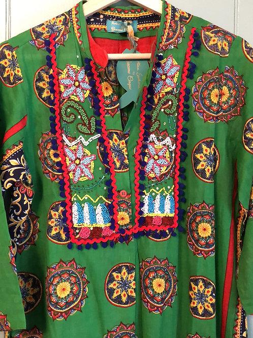 Antica Sartoria green cotton beaded maxi kaftan