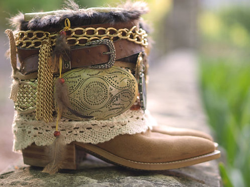 Custom REWORKED vintage lacy festival COWBOY Boots