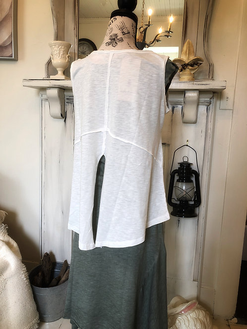 Eri white cotton split back tank top