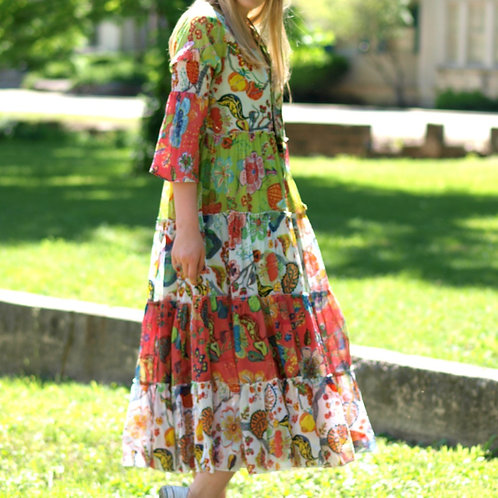 le Jardin tiered cotton beaded floral maxi dress