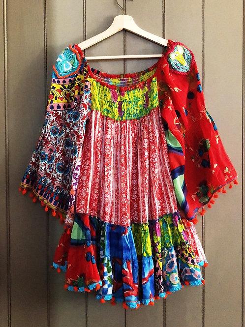 Antica Sartoria patchwork floral pompom tunic