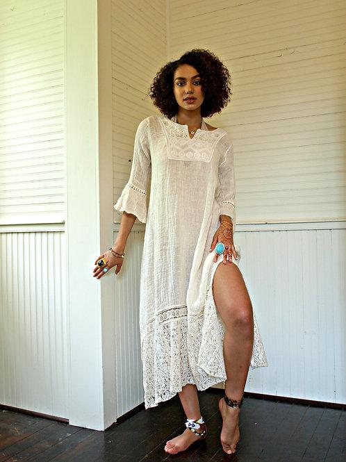 Delilah 100% Linen Maxi Dress Kaftan