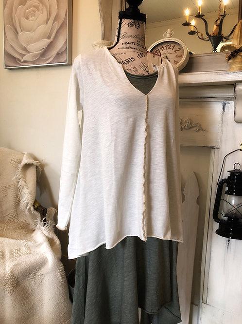 Nikole white cotton long sleeve asymmetrical tee