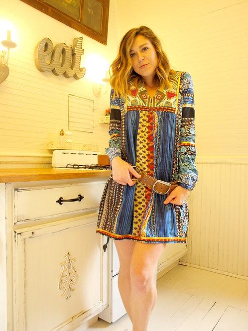 Cotton bib tapestry mini tunic dress