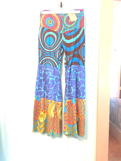 Cotton tiered palazzo pants- blue
