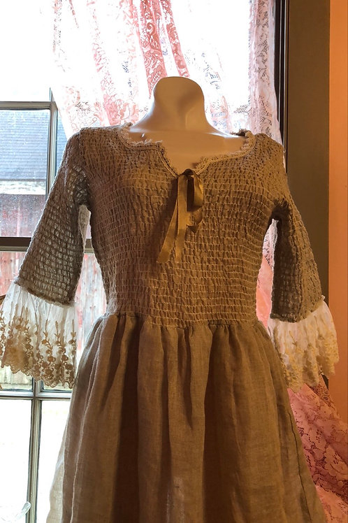 Linen and lace western shirred dress