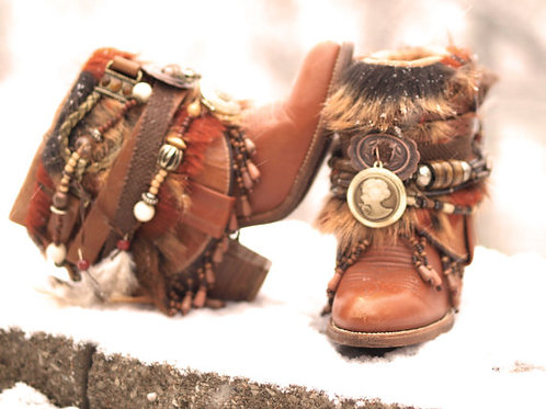 Custom upcycled REWORKED beaded vintage boho Boots