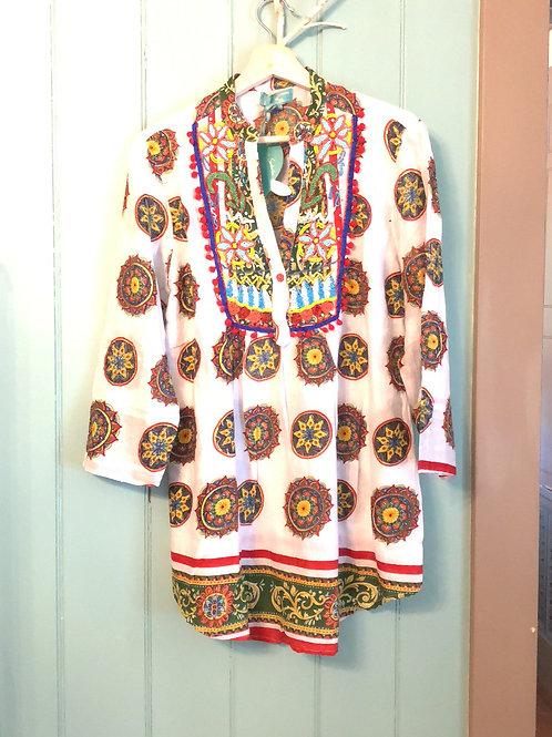 Antica Sartoria cotton beaded tunic blouse