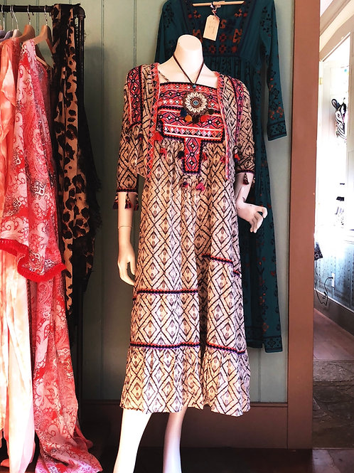 Tiered ruffle tribal banjara maxi dress