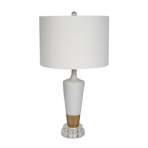 Penny Ceramic White and Gold Leaf Lamp