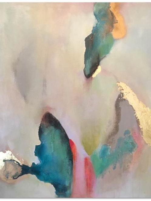 Acrylic, Spray Paint & Gold Leaf on Canvas