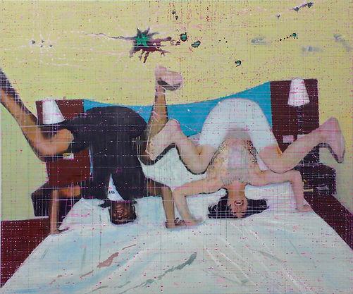 Schwarz-Weiss im Bett 2020 125 x 150 cm