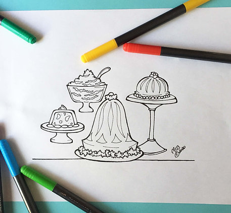 Covid-19 Charitable Coloring Page: Retro Jell-O Moulds