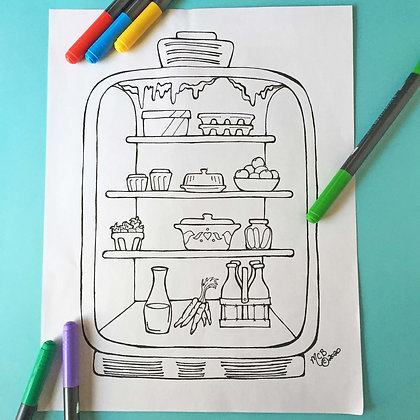 Covid-19 Charitable Coloring Page: Retro Fridge
