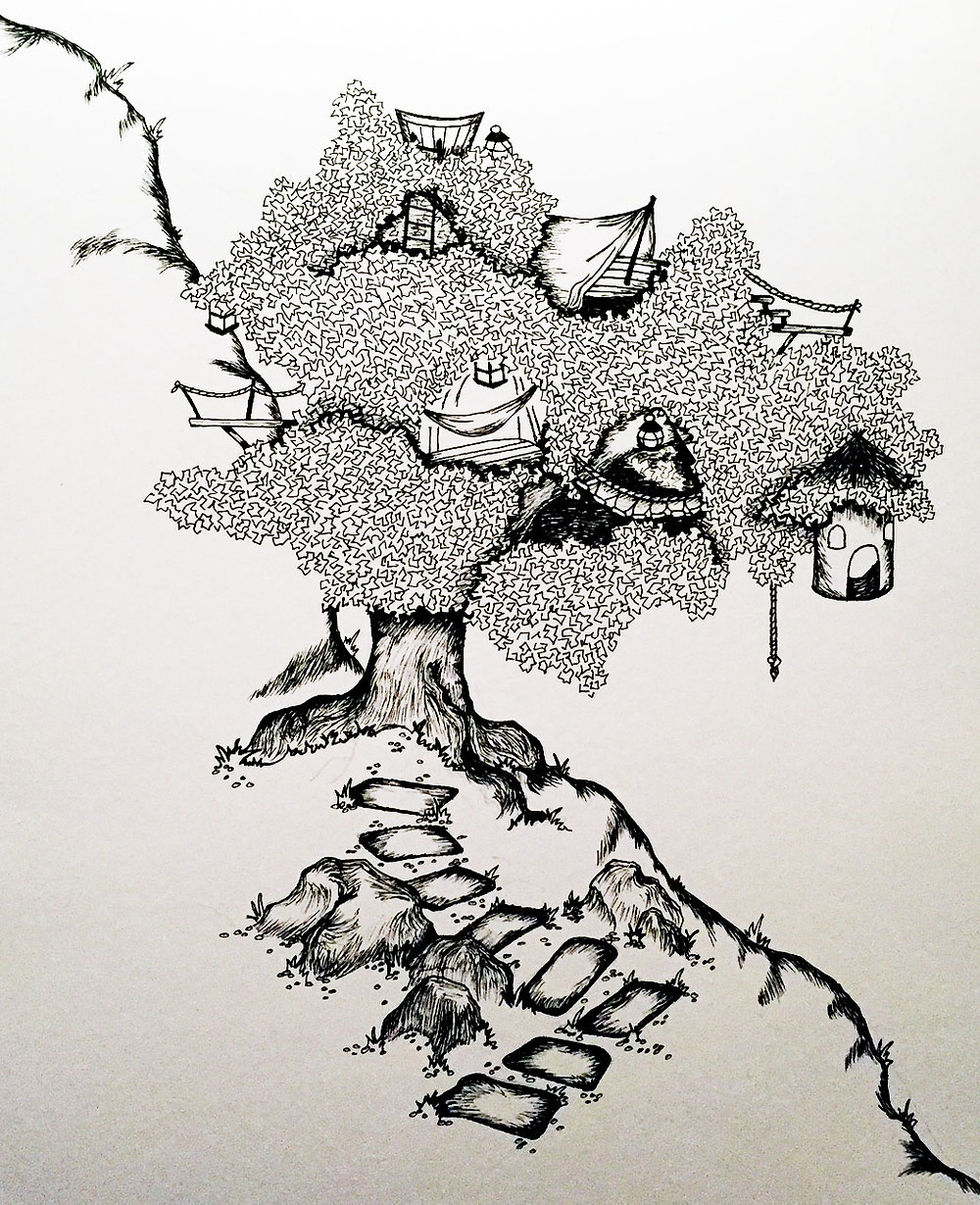 Black and white drawing of a large tree holding several elaborate treehouses.