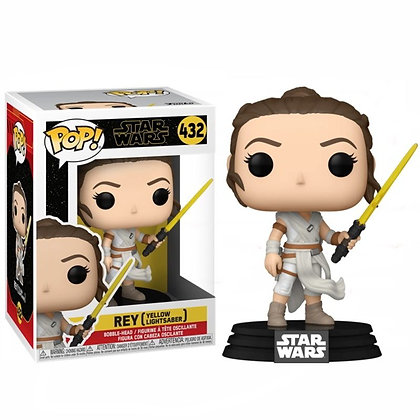 Star Wars Episode IX POP! Movies Vinyl Figura Rey w/ Yellow Saber 9 cm