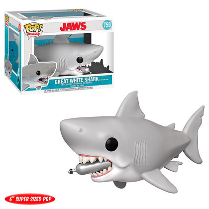 Tiburón Figura Oversized POP! Movies Vinyl Jaws with Diving Tank 15 cm