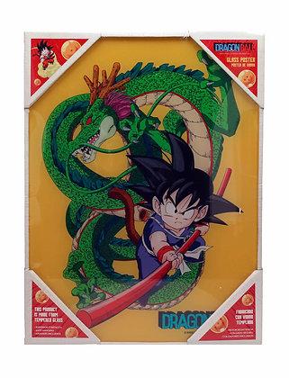 Poster de vidrio Goku niño y Shenron 30x40. Dragon Ball