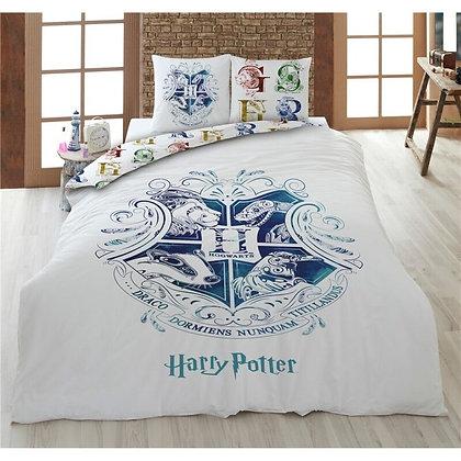 Funda de edredón Harry Potter escudo Hogwarts blanca (ALGODÓN)