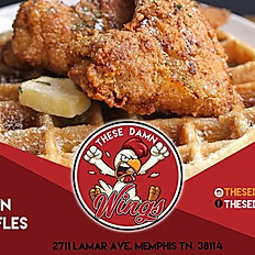 The Damn Chicken (2 Wings) & Waffles