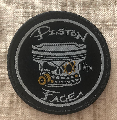 """PistonFace 3"""" Woven Patch with Embroidered Edge~100% Woven Coverage"""