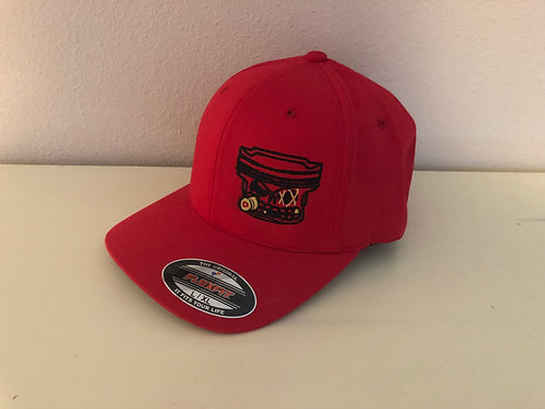 PistonFace Flex Fit Hat~Embroidered Logo (Red) Size L/XL