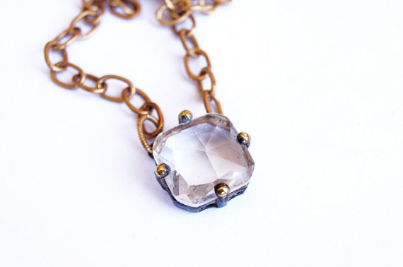 Liv Brass Studded Crystal Necklace