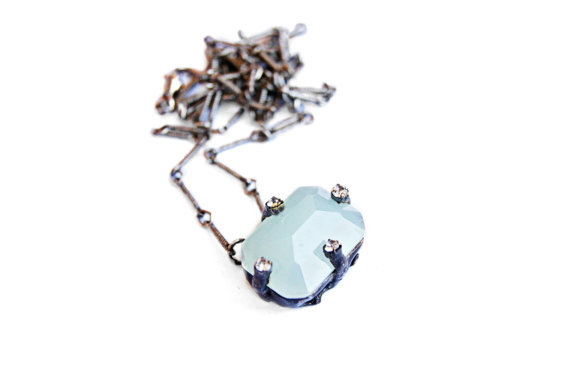 Wallflower Turquoise Crystal Necklace