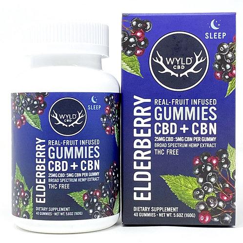 Wyld 25mgCBD:5mgCBN/40ct Broad Spectrum Gummies Elderberry
