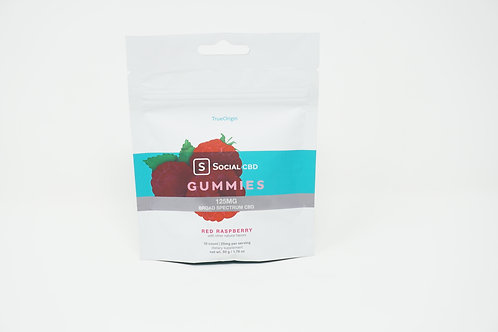 Social CBD 12.5mg/10ct Broad Spectrum Gummies Red Raspberry