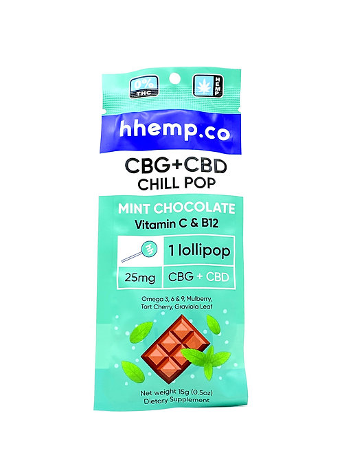 HHemp 25mg CBG:CBD Broad Spectrum Lollipop Mint Chocolate