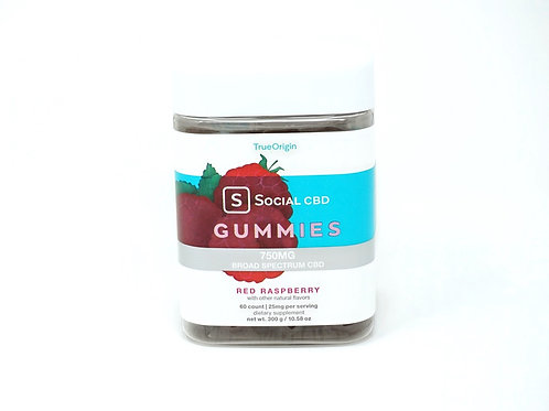Social CBD 12.5mg/60ct Broad Spectrum Gummies Red Raspberry