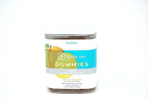 Social CBD 12.5mg/60ct Broad Spectrum Gummies Peach Mango