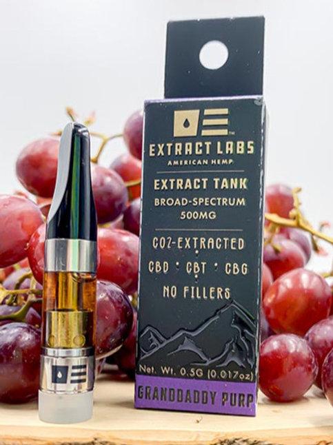 Extract Labs 500mg Full Spectrum Vape Cartridge Granddaddy Purp