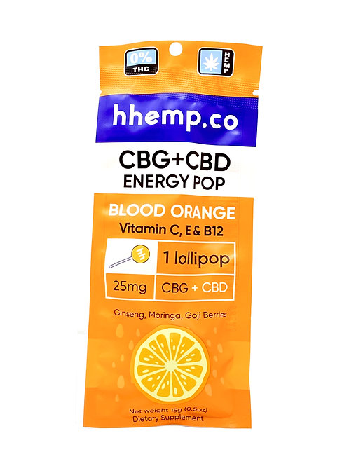 HHemp 25mg CBG:CBD Broad Spectrum Lollipop Blood Orange