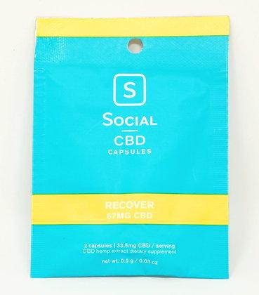 Social 67mg CBD 'Recover' 2 pack Capsules