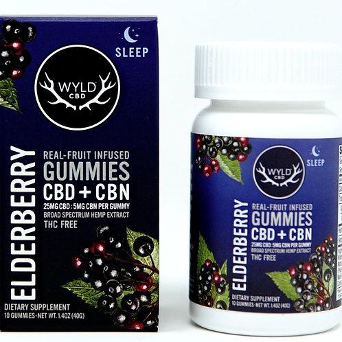 Wyld 25mgCBD:5mgCBD/10ct Broad Spectrum Gummies Elderberry