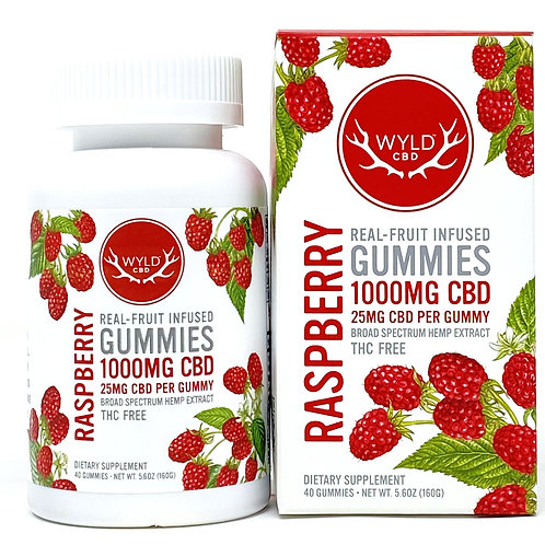 Wyld 25mg/40ct Broad Spectrum Gummies Raspberry
