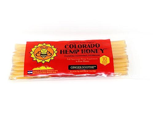 Colorado Hemp Honey 10pk Full Spectrum Sticks Ginger Soothe
