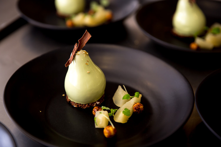Dessert - Okanagan Pears with Chocolate and Toasted Hazelnuts
