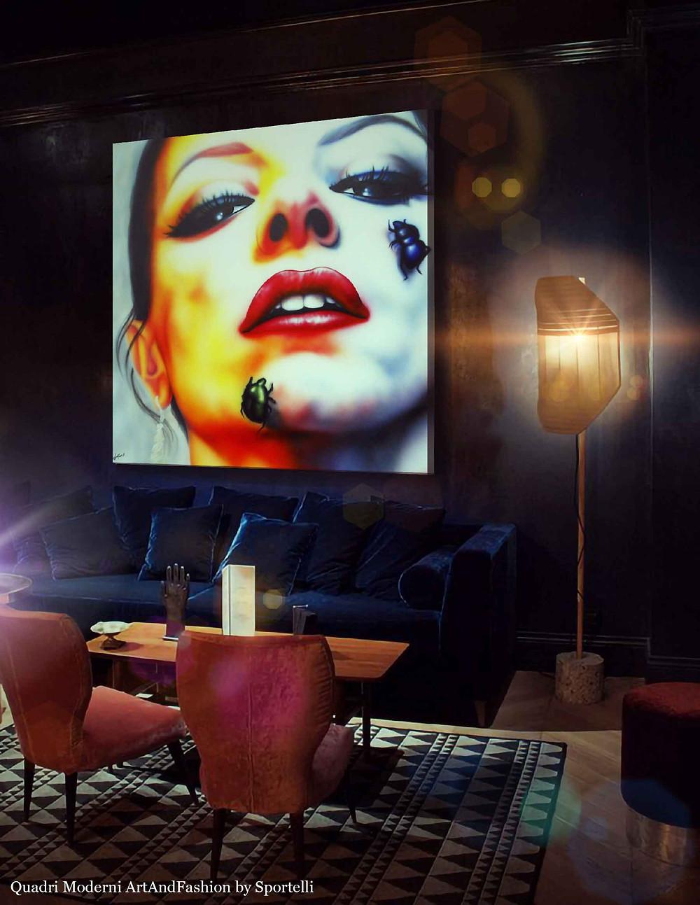 quadro-volto-donna-multicolore-in-arredamento-locale-notturno_ArtAndFashion-by-Sportelli