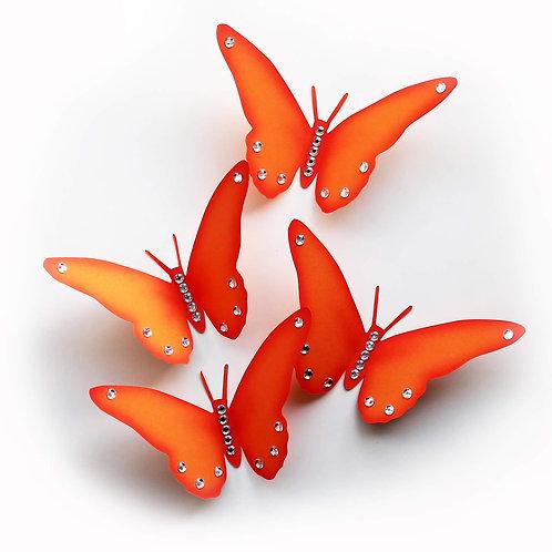Farfalle adesive 3D arancioni con decoro brillantini bianchi