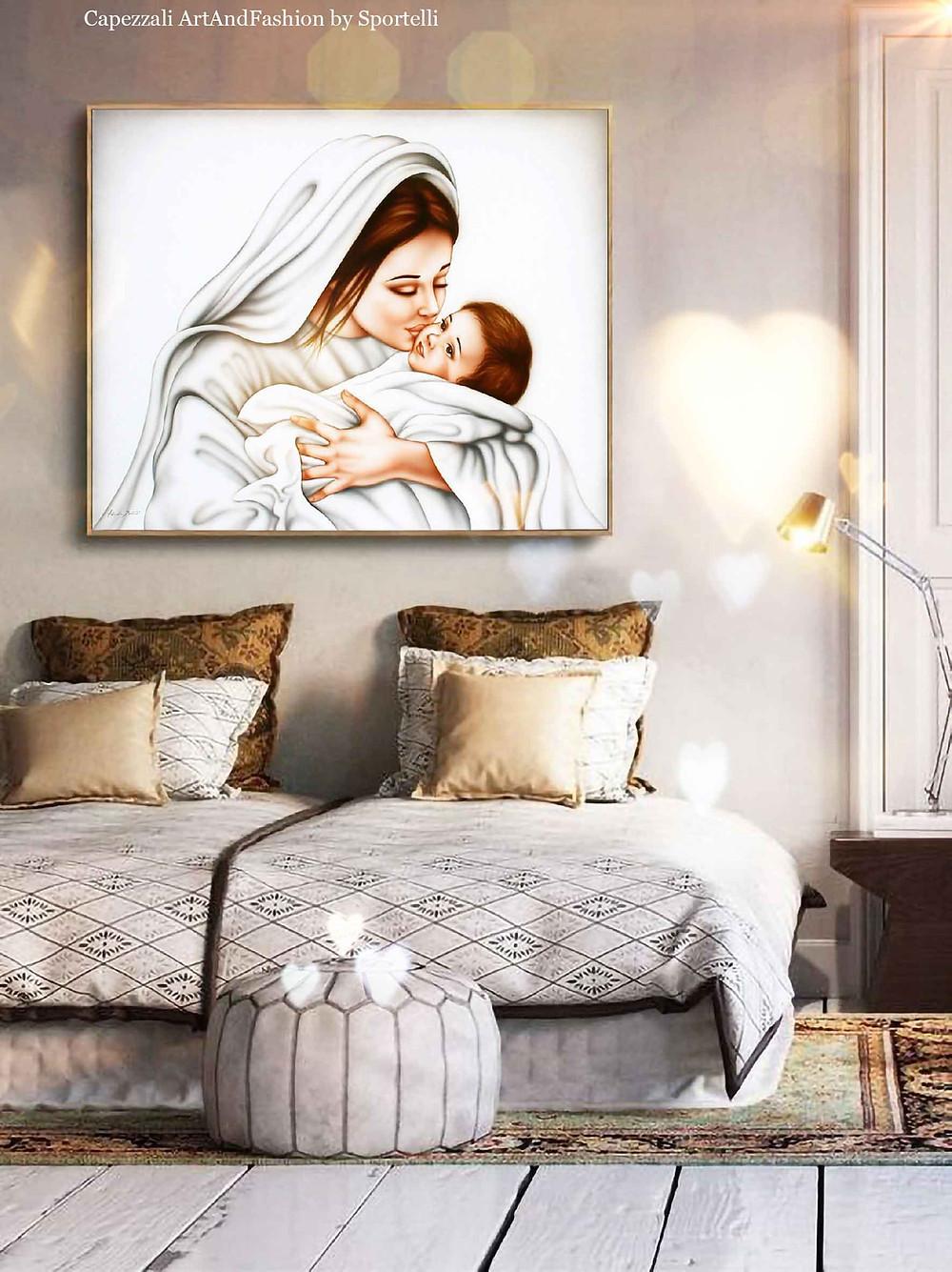 capezzale Madonna con Gesù bambino abbinato in camera da letto con mobili etnici