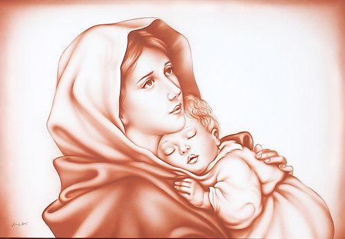 Quadro capezzale Madonna del Ferruzzi detta Madonnina o Madonna del riposo, dipinto per arredamento camera da letto classica