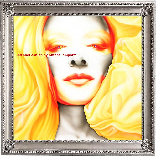 Quadro moderno viso donna, dipinti originali arredo
