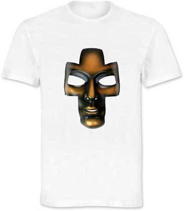 Maglietta stampata con maschera bronzo ArtAndFashion by Sportelli
